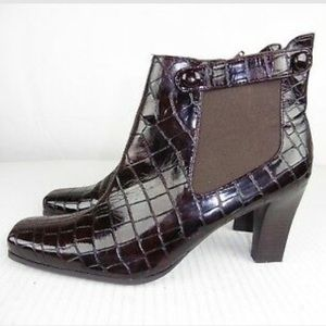 Franco Sarto Cleo Brown Patent Moc Croc Ankle Boot